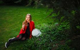 Картинка Girl, Grass, Sexy, Model, Green, Summer, Masha