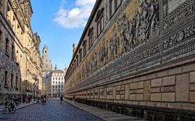 Обои улица, дома, Германия, Дрезден, церковь, панно