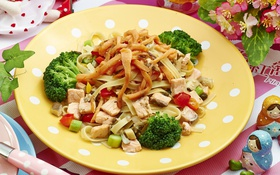 Обои мясо, овощи, брокколи, лапша