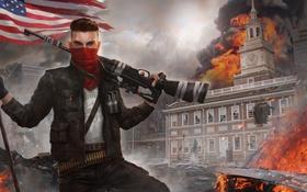 Обои город, огонь, флаг, арт, солдат, мужчина, винтовка