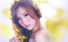 Обои взгляд, цветы, лицо, фон, волосы, макияж, азиатка