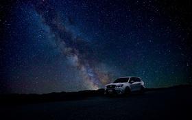 Обои дорога, звезды, Subaru, млечный путь