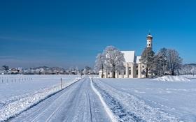 Картинка зима, дорога, снег, деревья, горы, дома, Германия