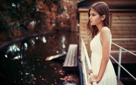 Картинка Alina, Girl, Model, White, View, Dress, Gorokhov