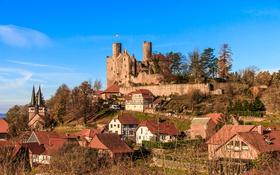 Обои небо, замок, гора, дома, Германия, холм