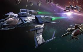 Картинка космос, звезды, полет, корабль, Mustang, Star Citizen