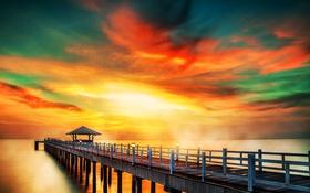 Картинка небо, облака, краски, причал, пирс, зарево, домик