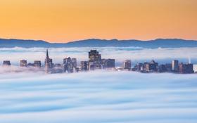 Картинка горы, туман, небоскреб, дома, утро, Сан-Франциско, США