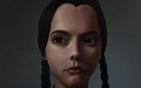 Обои взгляд, девушка, лицо, фильм, волосы, косички, The Addams Family