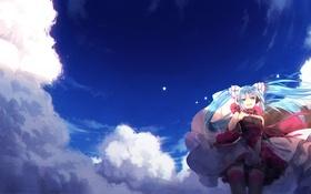 Обои hakusai, hatsune miku, vocaloid, арт, аниме, улыбка, облака