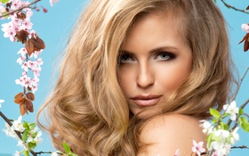 Картинка девушка, ветки, лицо, фон, весна, макияж, прическа