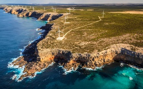 Обои море, берег, Австралия, ветряная мельница, електроветрогенератор, Порт-Линкольн