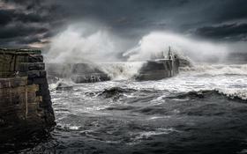Обои море, волны, шторм, стихия, пирс
