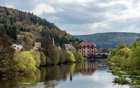 Обои лес, деревья, горы, река, дома, Германия, Бавария