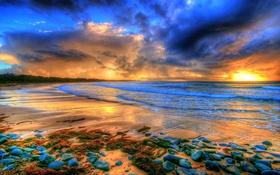 Обои море, облака, камни, берег, вечер, отлив, hdr