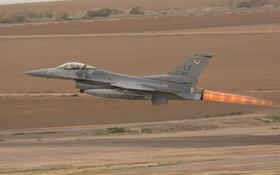 Обои истребитель, взлет, Fighting Falcon, F-16C, «Файтинг Фалкон»