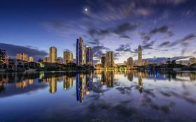 Обои ночь, огни, отражение, Австралия, Queensland, Квинсленд