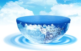 Обои облака, коллаж, Земля, туризм, полушарие, путешемтвие