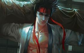 Обои арт, лента, парень, кимоно, красная, sanosuke sagara