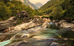 Картинка лес, деревья, горы, мост, камни, Швейцария, речка