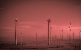 Обои Германия, дымка, ветряная мельница, Тюрингия, ветроэлектрогенератор