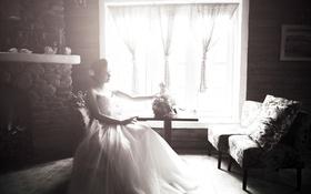 Картинка девушка, букет, сидит, невеста