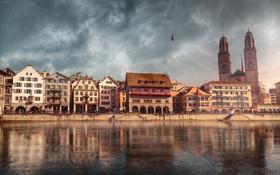 Обои река, дома, Швейцария, набережная, Цюрих