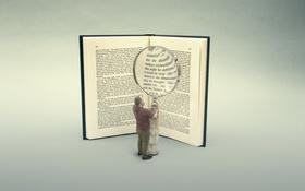 Обои человек, фон, книга