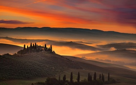 Картинка облака, деревья, дом, холмы, поля, Италия, зарево