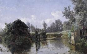 Обои деревья, пейзаж, картина, домик, Карлос де Хаэс, Озеро во Фрисландии