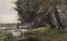 Обои деревья, мост, река, картина, Карлос де Хаэс, Пейзаж в Неймегене