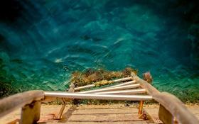 Обои вода, глубина, лестница