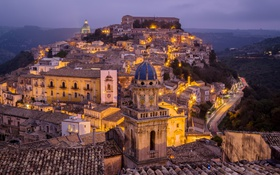 Обои огни, дома, вечер, Италия, Sicily, Ragusa