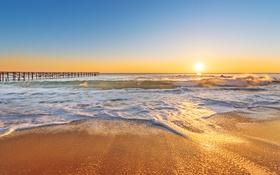 Картинка море, закат, beach, sea, sunset, sand, wave