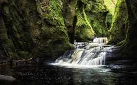 Обои ручей, скалы, водопад, мох, Шотландия, ущелье, Finnich