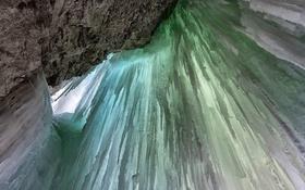 Обои лед, скала, водопад, сосульки, Канада, Альберта, Banff National Park