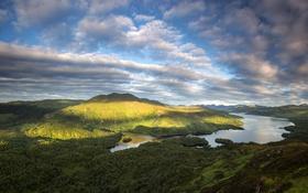 Обои лес, облака, горы, озеро, Шотландия, Loch Katrine