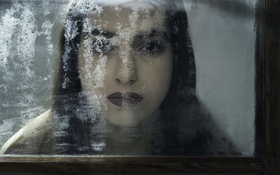 Картинка девушка, портрет, окно