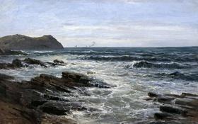 Обои картина, Скалы, морской пейзаж, Карлос де Хаэс