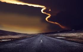 Картинка дорога, небо, ночь