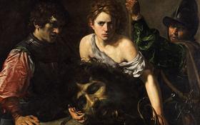 Обои картина, мифология, Валантен де Булонь, Давид с Головой Голиафа и Двое Солдат