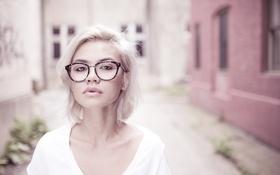 Картинка взгляд, портрет, очки, блондинка, пухлые губы