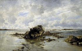 Обои картина, морской пейзаж, Карлос де Хаэс, Потерпевшее Крушение Судно