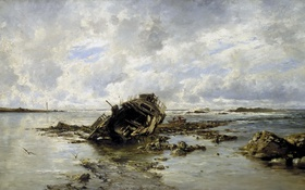 Картинка картина, морской пейзаж, Карлос де Хаэс, Потерпевшее Крушение Судно