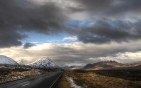Обои Glencoe, Scotland, небо, дорога
