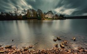 Картинка природа, озеро, дом