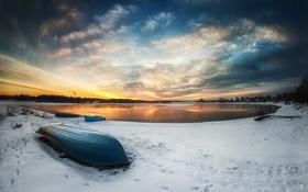 Картинка небо, облака, пейзаж, закат, природа, озеро