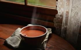 Обои стол, окно, суп