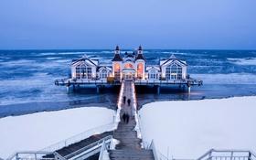 Обои лед, море, Германия, пирс, Sellin Pier, Мекленбург-Передняя Померания, остров Рюген