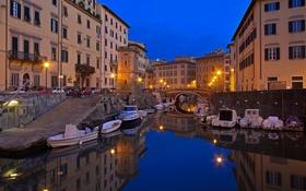 Обои ночь, огни, лодка, дома, Италия, гавань, Тоскана